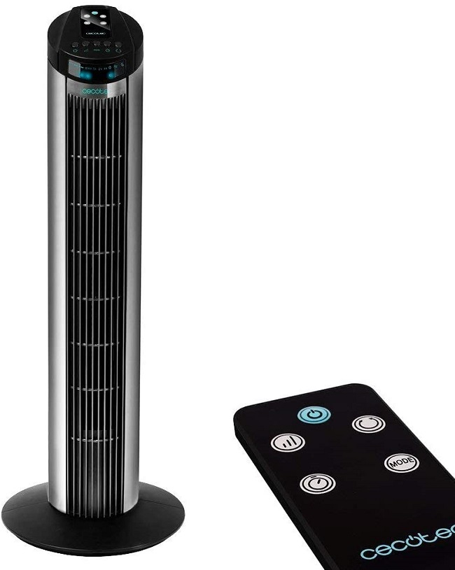 Ventilador de pie oscilante con temporizador y funci/ón Touch Sleep 45W 3 velocidades y mando a distancia Navaris Ventilador de torre silencioso